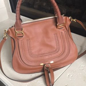 Brand new Chloe Marcie Cross body Satchel in Tan
